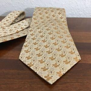 J. Garcia Golden Yellow Bronze Floral Silk Tie